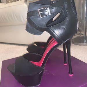 Black and pink heels